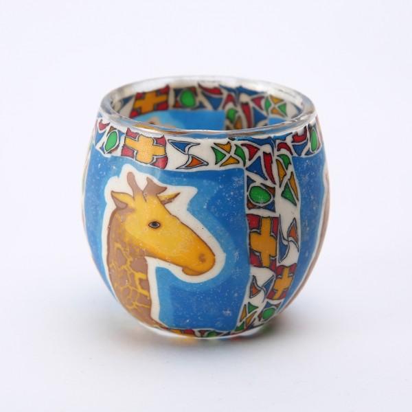 Fimo Glaswindlicht handgemacht blau mit Giraffe und afrikanischem Muster