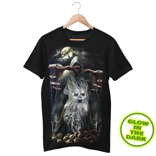 Glow in the Dark Shirt Schwarz Todes Hexer Skelett Schädel