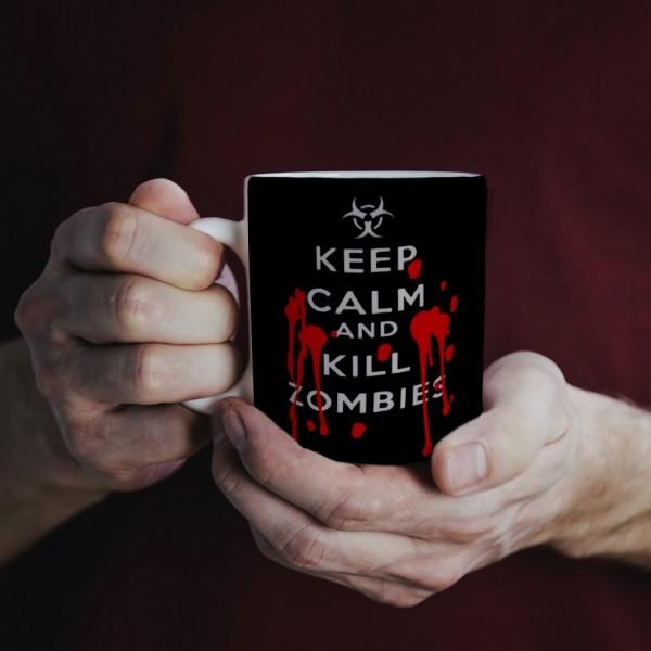 Geekinvader Keep Calm and Kill Zombies Logo Tasse Schwarz ca. 300ml