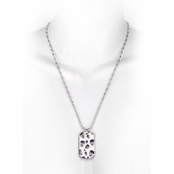 Metallkette mit Dog Tag - kleine Totenschädel - Weiß