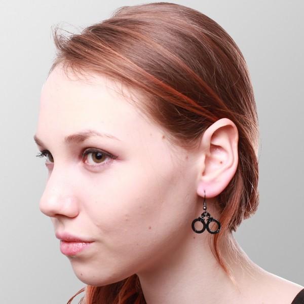Handschellen Ohrringe Schwarz Silber auf POS Display