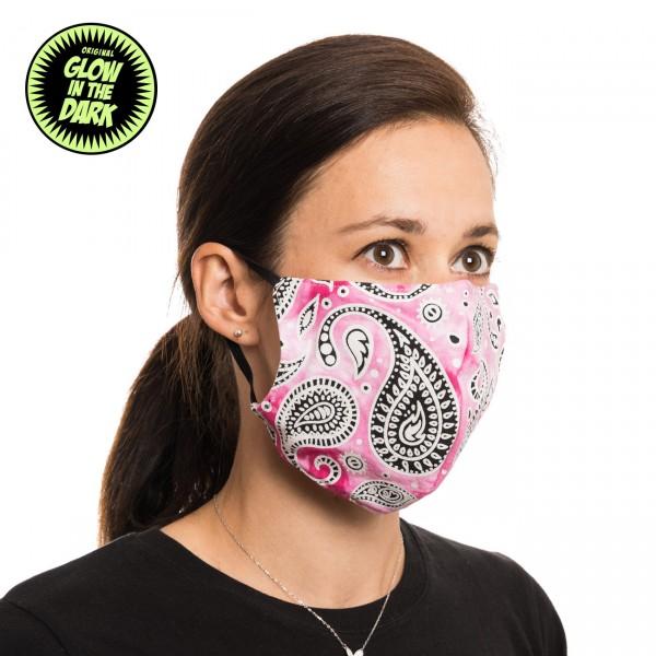 Pink Paisley Glow in the Dark Stoffmaske