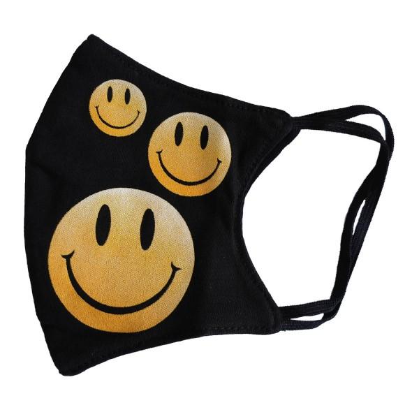 Wild Smileys klein Gelb Glow in the Dark Stoffmaske