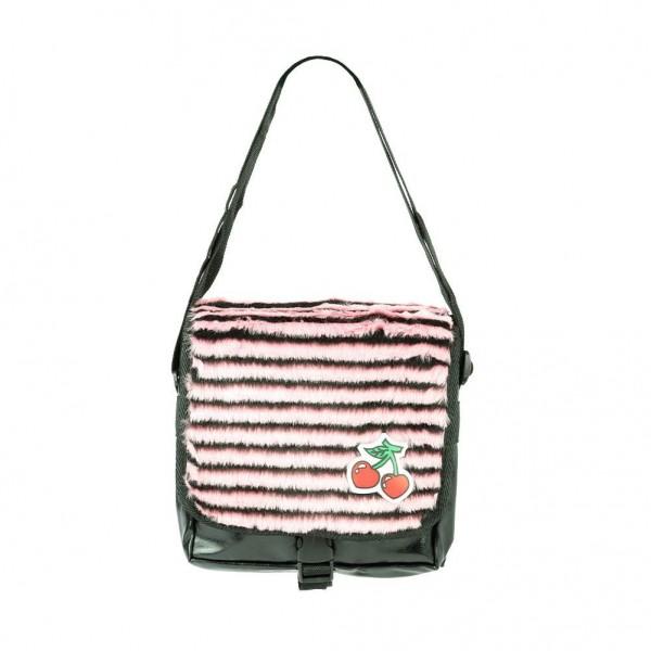 Gestreifte Messenger Tasche mit Kirschen Patch in Schwarz Pink
