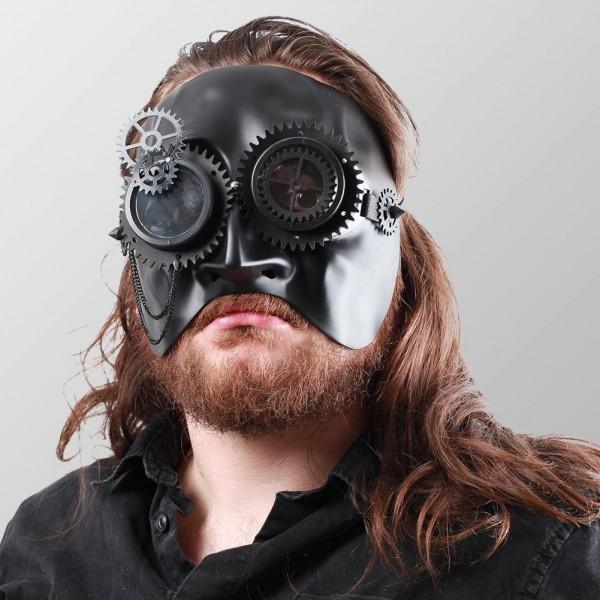 Halbes Gesicht Steampunk Maske mit Zahnrädern und Brille Schwarz Maske Schwarz