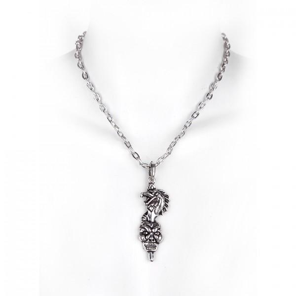 Metall Halskette mit Anhänger - Drache