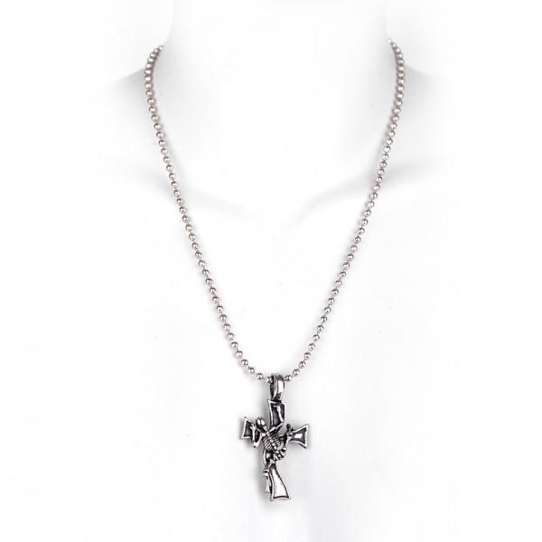 Metall Halskette mit Anhänger -Kreuz mit Skelett