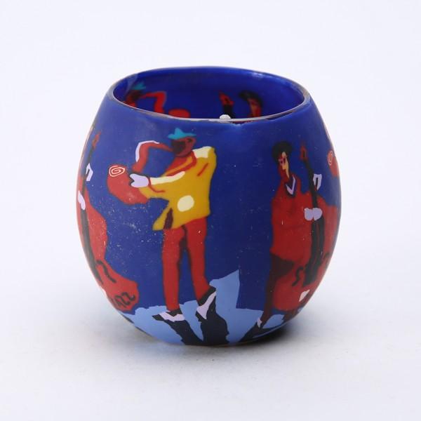 Fimo Glaswindlicht handgemacht blau mit Musikern inkl. Kerze