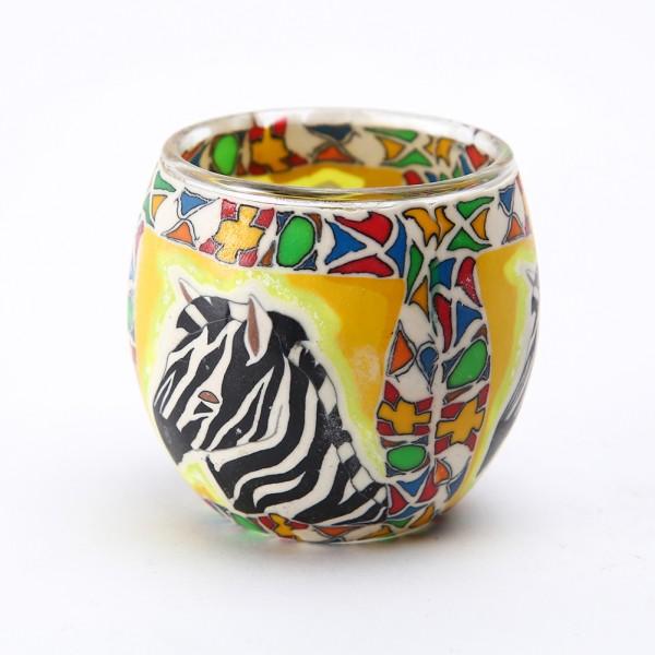 Fimo Glaswindlicht handgemacht gelb mit Zebra und afrikanischem Muster