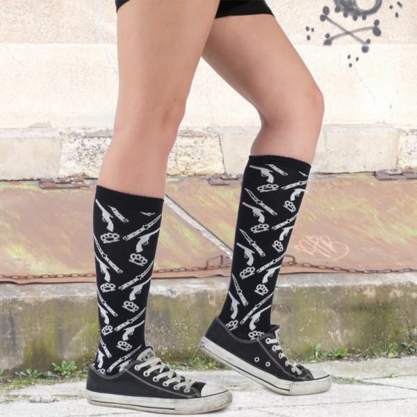 Schwarze Socken Rockabilly Schlagwaffen Unisize