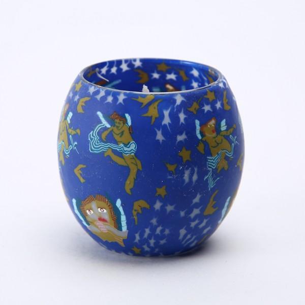 Fimo Glaswindlicht handgemacht blau mit Sternen und Wesen inkl. Kerze