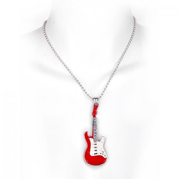 Metallkette mit Anhänger - Gitarre - Rot / Weiß