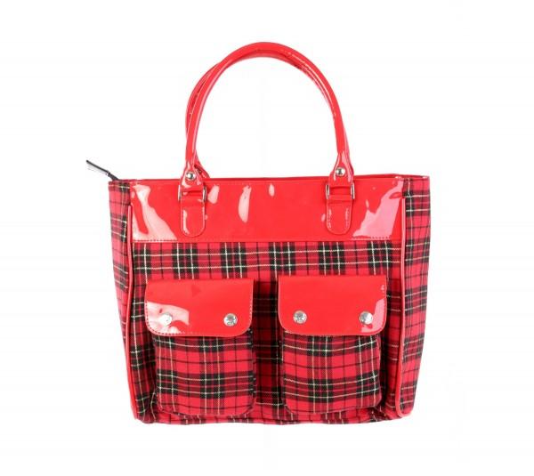 Handtasche in Roter Tartanoptik mit Abgesetztem Lack