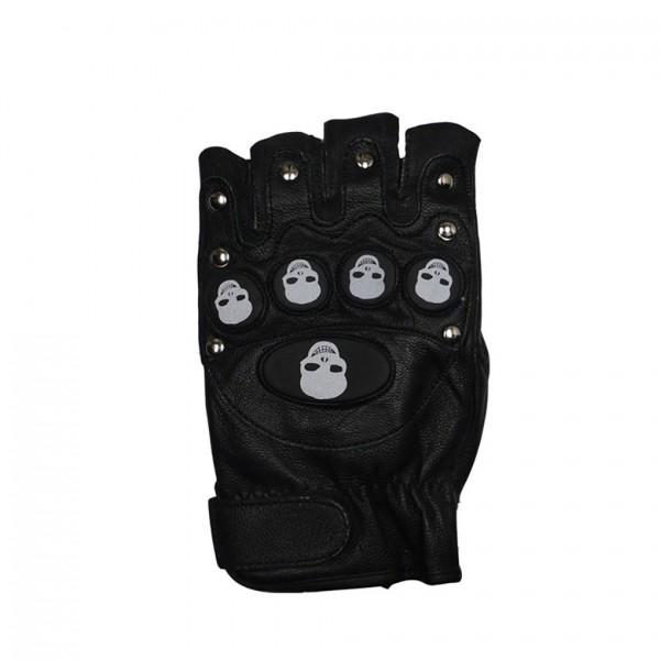 Lederhandschuhe mit Abgestepptem Protektoren Skull Print