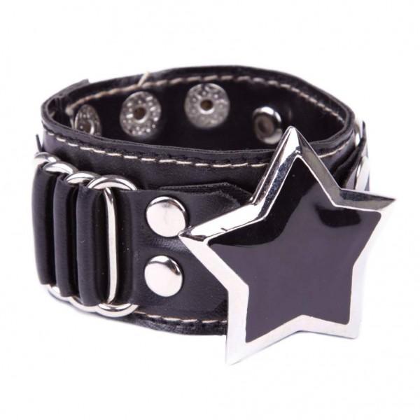 Kunstleder Armband mit metallschnalle - Stern Schwarz