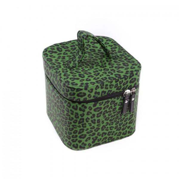 Grüne Leopard Kosmetik Handtasche mit Innenspiegel