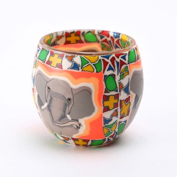 Fimo Glaswindlicht handgemacht bunt mir Elefant und afrikanischem Muster