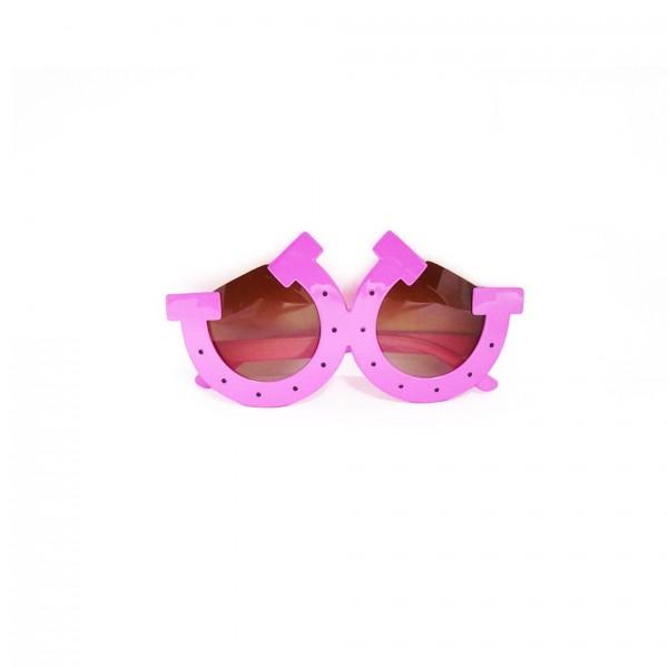 Spaßbrille in Form eines Huffeisens in Pinker Farbe