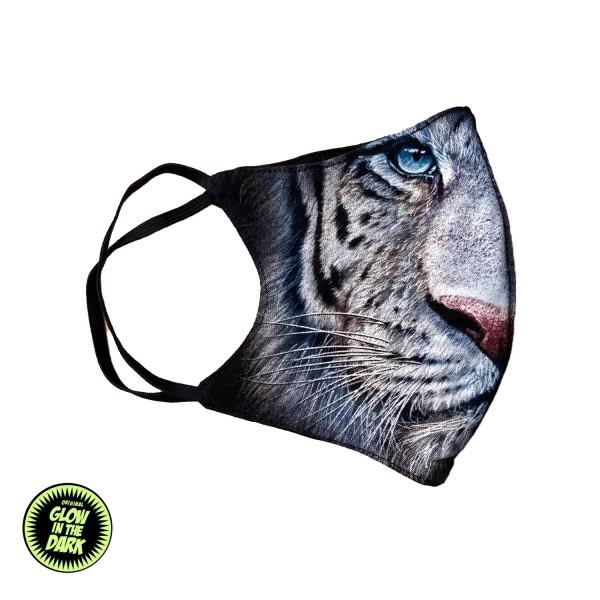 White Tiger Glow in the Dark Stoffmaske