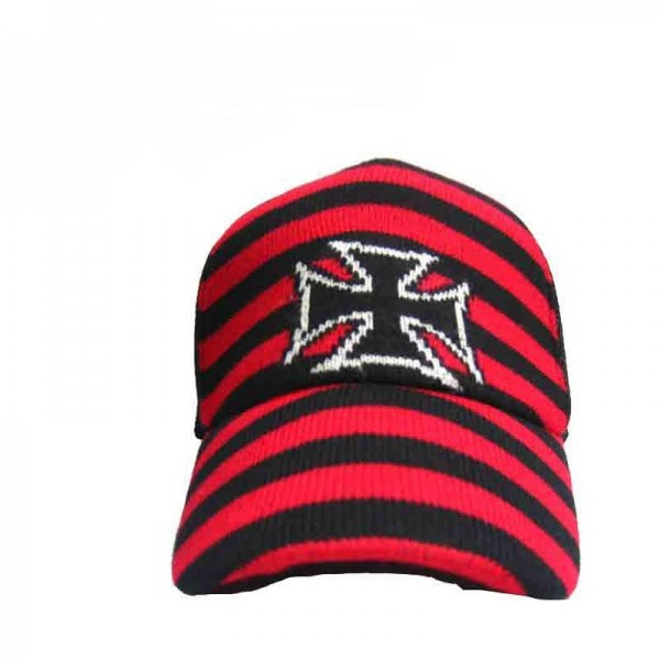Gestreifte Eisernes Kreuz Stoff Cap