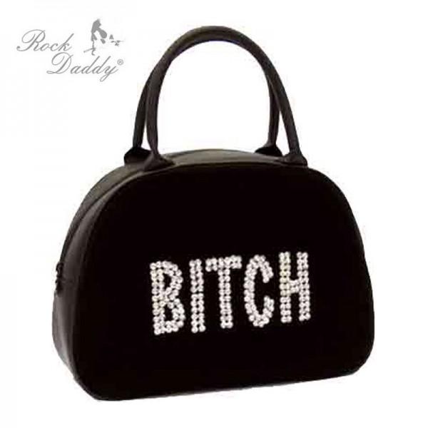 Tasche mit Stickerein in schwarz mit weißer Aufschrift Bitch