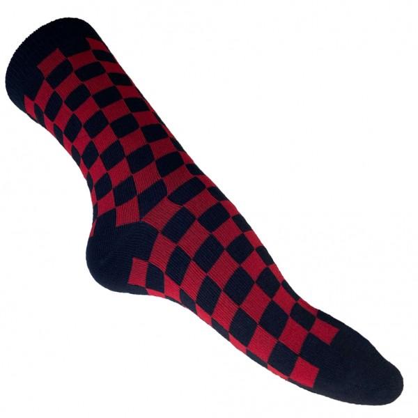 Karo Streetwear Socken Schwarz Rot Unisize