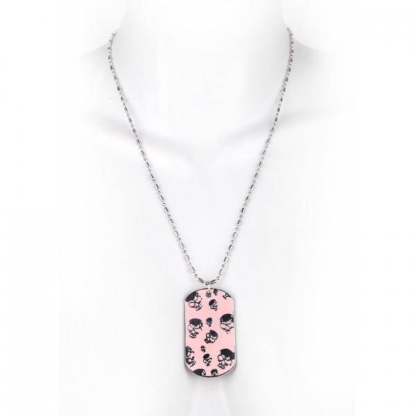 Metallkette mit Dog Tag (klein) - kleine Totenschädel - Pink