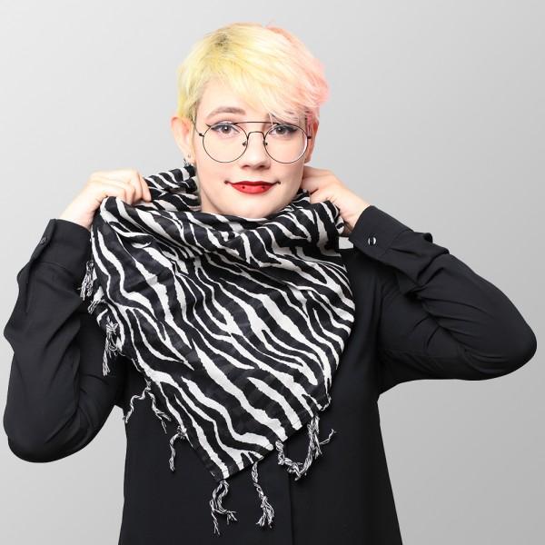 Zebra Fell Optik Baumwolltuch mit Fransen Schwarz Weiß