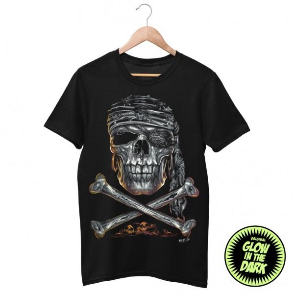Wild Glow in the Dark Pirat Skull T-Shirt