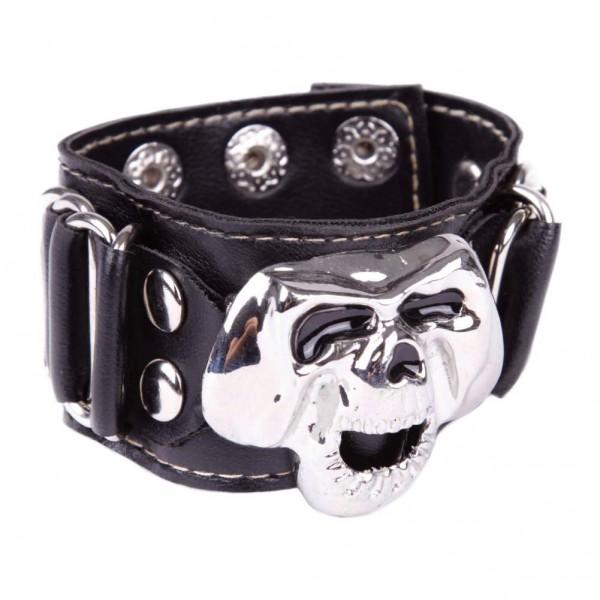 Kunstleder Armband mit metallschnalle - Totenkopf mit Schwarzen Augen