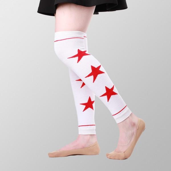 Weißer Beinwärmer mit Roten Sternen