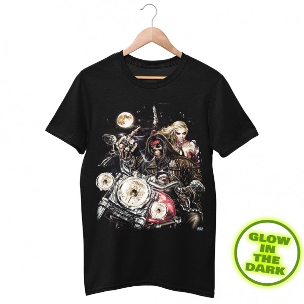 Glow in the Dark Shirt Schwarz Fuck Off Skelett Biker
