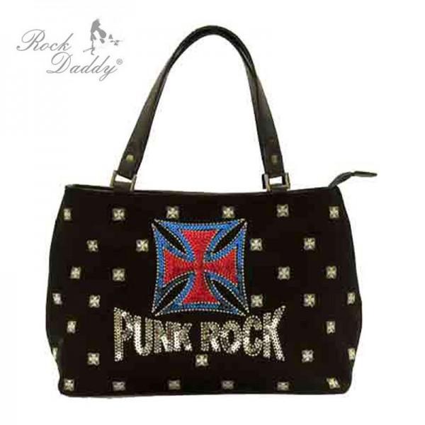 Tasche mit Stickereien mit der Aufrischt Punk Rock und einem Kreuz
