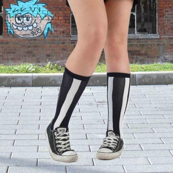 Schwarz & Weiß Gestreifte Socken